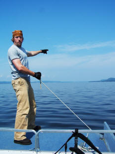 Cryptozoologist Noah Voss navigates a route forward on Lake Pepin