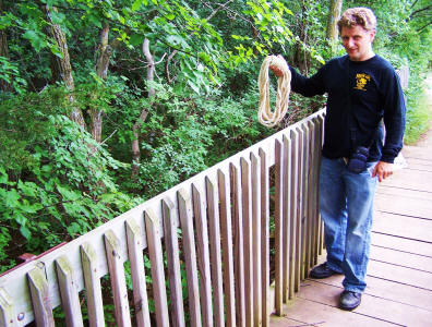 Paranormal investigator Chad Lewis on haunted bridge