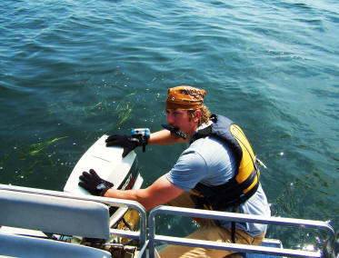 Cryptozoologist Noah Voss clears prop on Lake Pepin